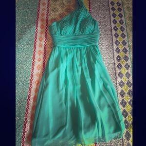 Donna Morgan Tiffany blue one shoulder Dress sz 0